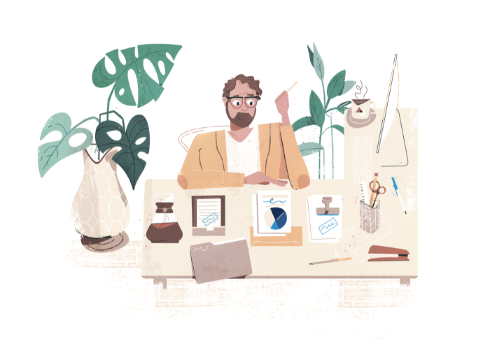 Illustration of worker sitting at desk surrounded by papers and plants