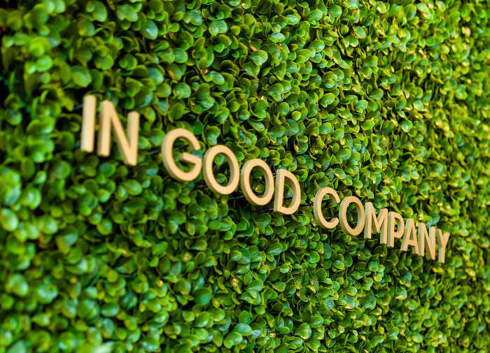 "Words ""IN GOOD COMPANY"" on top of wall of small, green leaves"
