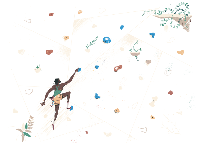 Illustration of a man climbing a colorful rock wall