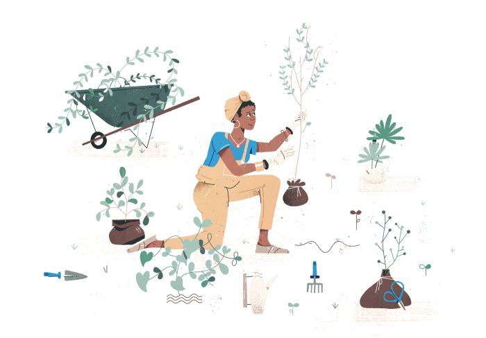 Gardener wearing overalls with wheelbarrow, tools and greenery