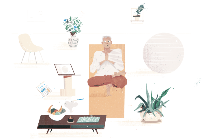 Illustration of a white-haired man doing yoga on a mat indoors
