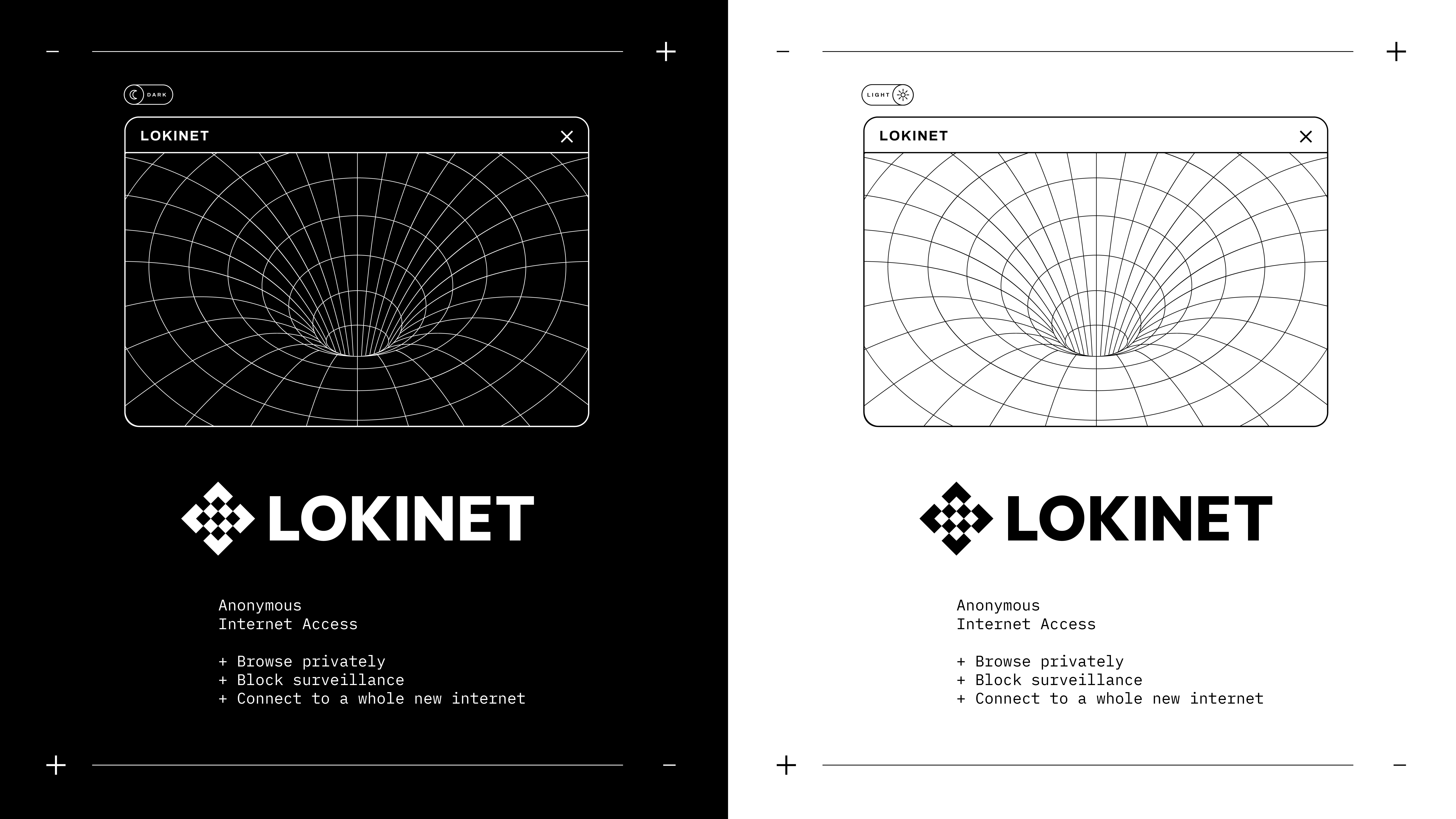 Meet the new Lokinet. Bold in black and white. Pictured are the new light modes and dark modes for the refreshed Lokinet website.