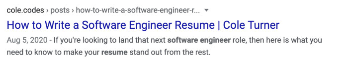 "Search result for ""software engineer resume"" where it used the meta description hint."