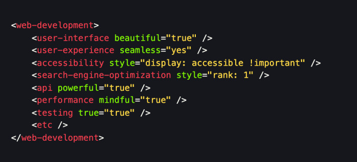 A markup joke that shows the different realms of web development as HTML tags.