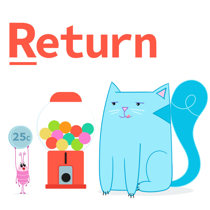 Return tells a function it's done (and can send something back)!