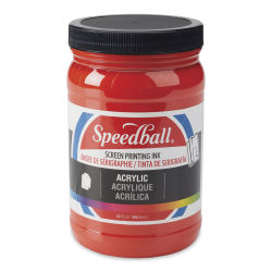 Speedball Permanent Acrylic Screen Printing Poster Ink - Fire Red, Quart