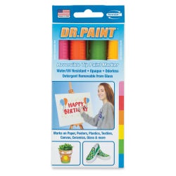 U-Mark Dr. Paint Reversible Tip Paint Markers - Set of 4, Bright Colors