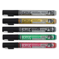 Pebeo Acrylic Marker - Set of 5, Precious Colors, 1.2 mm, Bullet Nib