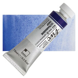 PWC Extra Fine Professional Watercolor - Ultramarine Deep, 15 ml, Swatch with Tube