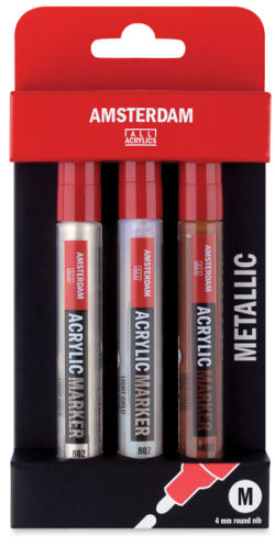 Amsterdam Acrylic Marker - Metal Colors, Set of 3, 4 mm