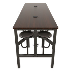 OFM Endure Tables with Attached Stools - 8 Seats, Walnut Top, Dark Vein Seats, 96''L