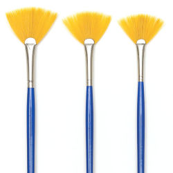 Blick Scholastic Short Handle Golden Taklon Brush Set - Fan, Short Handle, Set of 3