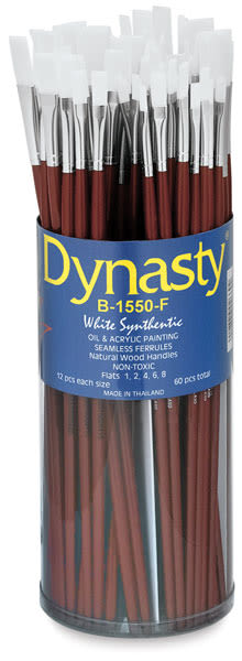 Dynasty Synthetic White Bristle Brush Canister - Flat, Long Handle, Canister of 60