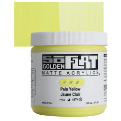 Golden SoFlat Matte Acrylic Paint - Pale Yellow, 473 ml, Jar with Swatch