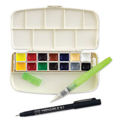 Kuretake Gansai Portable Watercolor Set - Set of 14, Assorted Colors, Half Pans (Shown with Mangaka Fineliner and Watercolor brush.)