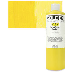 Golden Fluid Acrylics - Hansa Yellow Medium, 16 oz bottle