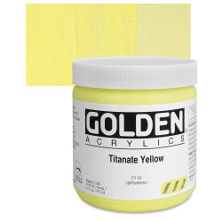 Golden Heavy Body Artist Acrylics - Titanate Yellow, 16 oz jar