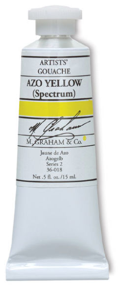 M. Graham Artists' Gouache - Azo Yellow, 15 ml tube