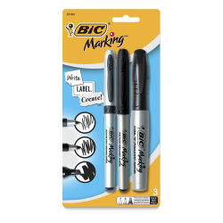 Bic Mark-It Color Collection Permanent Markers - Black, Assorted Tips, Set of 3