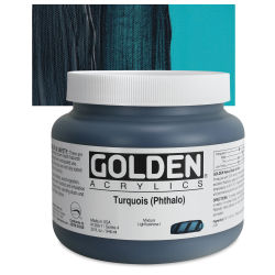 Golden Heavy Body Artist Acrylics - Turquoise (Phthalo), 32 oz Jar