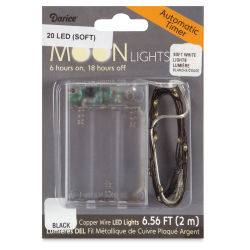 LED Moon Lights - 20 Lights, 6-1/2 ft, soft white lights, black wire