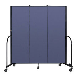 Screenflex Portable Room Dividers - 6 ft x 5 ft, Blue, Portable, 3 Panel