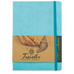 Pentalic Recycled Traveler's Sketchbook - 8-1/4'' x 5-7/8'', Turquoise