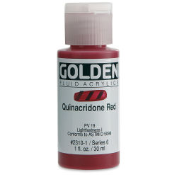 Golden Fluid Acrylics - Quinacridone Red, 1 oz bottle