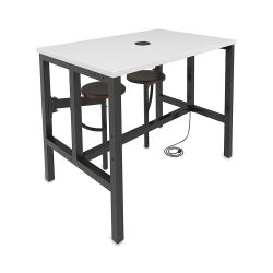 OFM Endure Tables with Attached Stools - 2 Seats on One Side, Dry-Erase Top, Walnut Seats, 48'' L