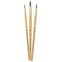 Princeton Real Value Brush Set - 9100, Synthetic Pony Round, Short Handle, Set of 3