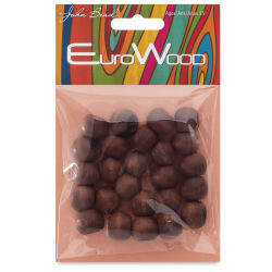John Bead Euro Wood Beads - Dark Brown, Round, Large Hole, 14 mm x 11 mm, Pkg of 25