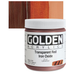 Golden Heavy Body Artist Acrylics - Transparent Red Iron Oxide, 8 oz Jar