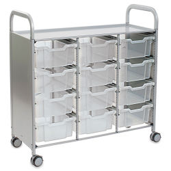 Gratnells Callero Plus Cart - Treble Cart, 12 Deep F2 Trays, Translucent