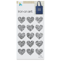 Momenta Iron-On Art - Silver Glitter Mini Hearts