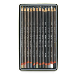Derwent Tinted Charcoal Pencil Set - Assorted Colors, Tin Box, Set of 12