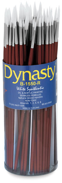 Dynasty Synthetic White Bristle Brush Canister - Round, Long Handle, Canister of 60