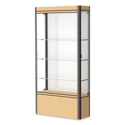 Waddell Contempo Series Display Case - White, Light Maple Base with Dark Bronze Frame, Medium