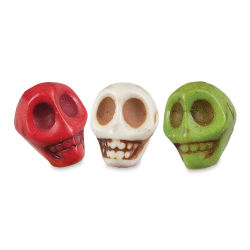 John Bead Semi-Precious Skull Beads - Multi-color, 10 mm, 8'' string length