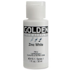 Golden Fluid Acrylics - Zinc White, 1 oz bottle