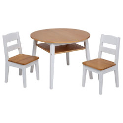 Melissa & Doug Wooden Round Table and Chairs - White/Natural