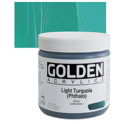 Golden Heavy Body Artist Acrylics - Light Turquoise (Phthalo), 16 oz Jar
