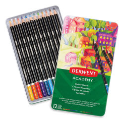 Derwent Academy Colored Pencil Set - Assorted Colors, Tin Box, Set of 12