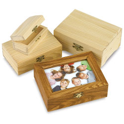 Wooden Hinged Box - 7-1/8'' x 5-1/2'' x 2-1/2'', Rectangle, Pine