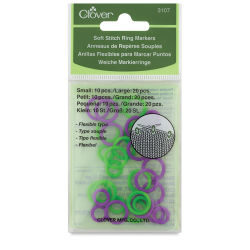 Clover Stitch Markers - Soft Stitch Ring Marker, Pkg of 20