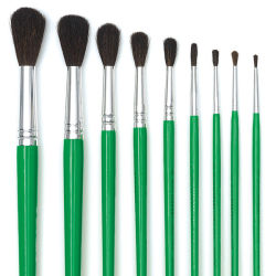 Set of 9-Round Brushes Short Handle