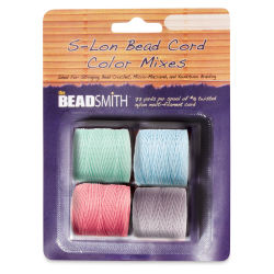 Beadsmith S-Lon Cord Pack - Pkg of 4, Pastel Colors