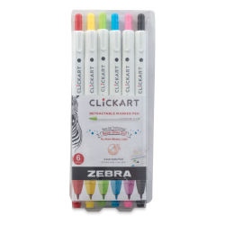 Zebra ClickArt Retractable Markers - Set of 6