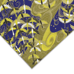 Aitoh Japanese Decorative Paper - Cranes, Gold/Blue, 31-1/2'' x 21-1/2''