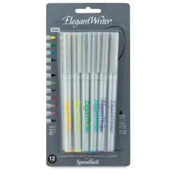 Speedball Elegant Writer Calligraphy Markers - Assorted Colors, Set of 12, 1.3 mm Nib