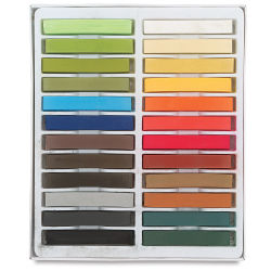 Blick Studio Pastels - Landscape Colors, Set of 24. Open tray of pastels in two rows.
